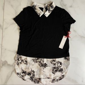 Elle Layered Top - Short Sleeve Black and Floral